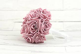 Kytice pre nevestu - Saténová kytica svadobná staroružová ruže - 10345491_