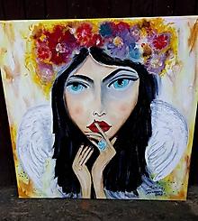 Obrazy - Som tvoj anjel - olejomaľba - 10345148_