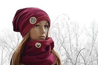 Čiapky - Zimný set Bordový javorový list & oriešok - 10347825_