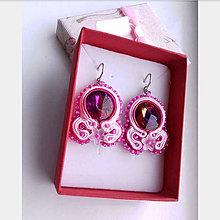 Náušnice - Ružová romantika (Bordová) - 10346308_