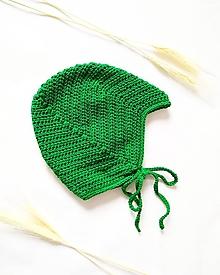 Detské čiapky - Diablikovská čiapočka - zelená - 10344381_