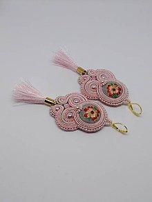 Náušnice - Romantické šujtášové náušničky  (Šedá s ružovou) - 10347252_