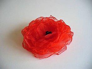 Odznaky/Brošne - organzový kvet červený - 10344300_