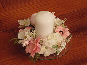 Svietidlá a sviečky - Jemný ružovo-biely svietnik so sviečkou na skle - 10346222_