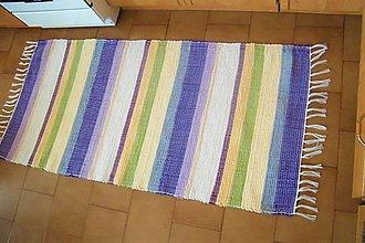 Úžitkový textil - Tkaný koberec fialovo-sivo-zeleno-žltý - 10344708_