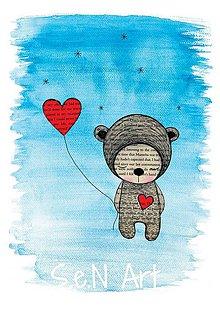 Obrazy - Obrázok Medvedík s balónikom - 10350485_