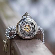 Iné - Mechanické vreckové hodinky s krúžkovanou reťazou (5) - 10348520_