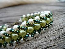 Náramky - VÝPREDAJ! Náramok Zelený perleťový - 10350736_