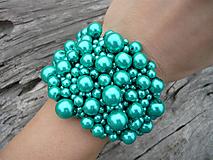 Náramky - VÝPREDAJ! Perličkový náramok Mentolový perleťový - 10350773_