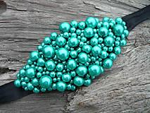 Náramky - VÝPREDAJ! Perličkový náramok Mentolový perleťový - 10350774_