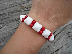 Náramky - VÝPREDAJ :) Náramok Námorníčka..bielo-červený - 10351003_