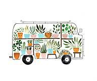 Obrazy - Kvetinkovy autobus / reprodukcia mojej digitalnej malby - 10348108_