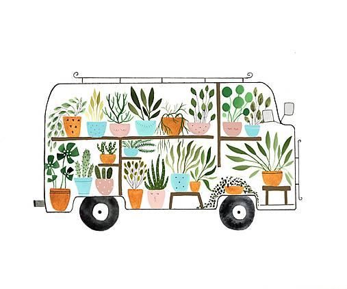 Kvetinkovy autobus / reprodukcia mojej digitalnej malby