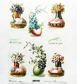 Papier - Ryžový papier na decoupage -A4-R1075 - Veľká noc, kvety - 10348834_