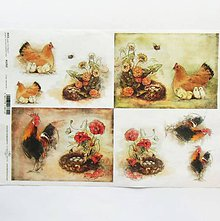 Papier - Ryžový papier na decoupage -A4-R1352 - Veľká noc, sliepka - 10348978_