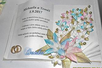 Dekorácie - Svadobná gratulačná kniha s obrúčkami - 10348256_