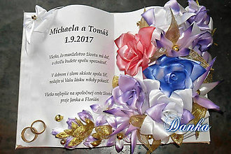 Dekorácie - Svadobná gratulačná kniha s obrúčkami - 10348276_