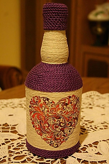 Nádoby - Fľaša - srdce - folklór (Fialová) - 10350628_