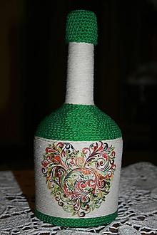 Nádoby - Fľaša - srdce - folklór (Zelená) - 10350650_