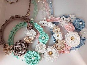 Náhrdelníky - Háčkovaný romantický náhrdelník (Modrá) - 10349215_