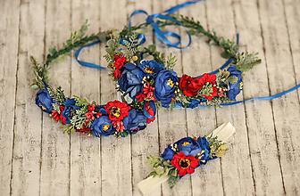 Ozdoby do vlasov - Folklórny kvetinový set Mama s dcérkami - 10348129_