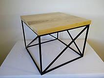 Nábytok - konferenčný stolík drevo/priehradová oceľ - 10349931_