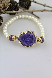 Náramky - achát lemovaná drúza a perly náramok luxusný - 10351164_