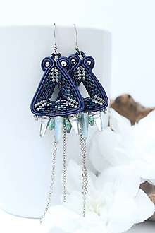 Náušnice - Náušnice trojuholníkové (Modrá) - 10349092_
