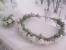 """Ozdoby do vlasov - Kvetinový venček do vlasov a ozdoba na sviečku - set """" biele ružičky """" - 10348968_"""
