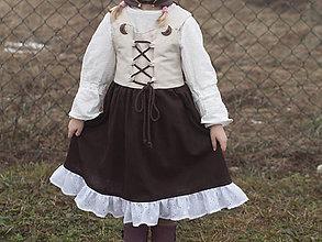 Detské oblečenie - Ľanové šaty s mesiačikmi - 10349384_