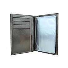 Peňaženky - Kožené púzdro na doklady, tmavá lesklá hnedá farba - 10350155_