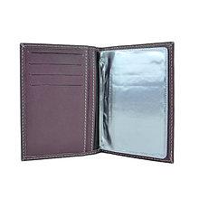 Peňaženky - Kožené púzdro na doklady, fialová farba - 10350208_