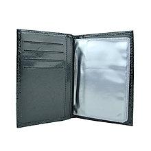 Peňaženky - Kožené púzdro na doklady, čierna lakovaná hadina - 10350276_