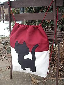 Batohy - šnúrkový ruksak Čierna mačka - 10349760_