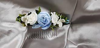 Hrebeň do vlasov, kvetinový, bielo modrý