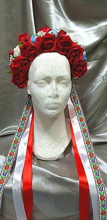 Ozdoby do vlasov - Červená folklórna kvetinová parta - 10348876_