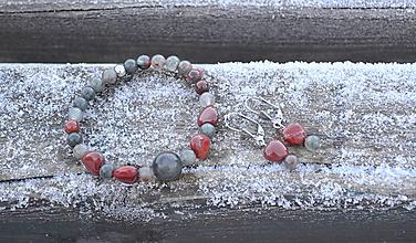 Sady šperkov - Srdce jaspis a heliotrop sada náramok a náušnice - 10349497_