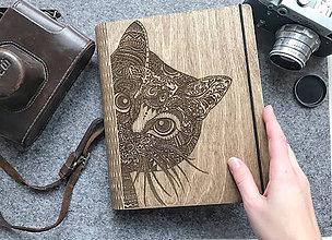 Papiernictvo - Drevený zápisník s motivom mačičky - 10349842_