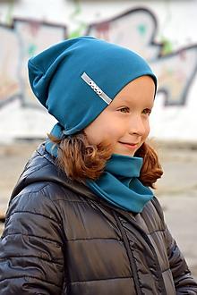 Detské súpravy - Set čiapka s menom + nákrčník Elastic- Petrol - 10351118_