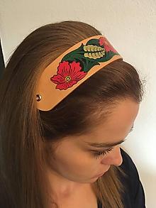 Ozdoby do vlasov - Ručne maľovaná kožená čelenka - kvety - 10350345_