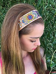 Ozdoby do vlasov - Ručne maľovaná kožená čelenka - folk - 10351084_