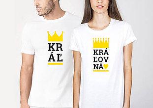 Tričká - Párové tričko Kráľ a Kráľovná - 10350857_