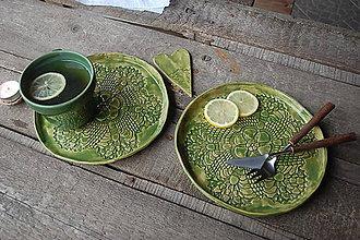 Nádoby - Keramický tanier čipkovaný - 10349446_