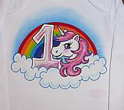 Detské oblečenie - narodeninove s jednorozcom (9-12mes.) - 10349376_