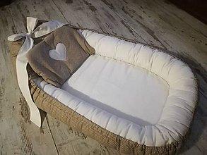Textil - Hniezdo pre bábätko orieškovo hnedá s bielou - 10350977_