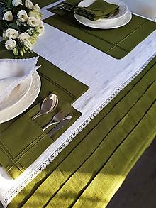 Úžitkový textil - Biely ľanový obrus Elegance - 10350874_