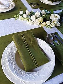 Úžitkový textil - Ľanový obrúsok Obsession Green - 10350937_