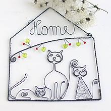 Tabuľky - domček s nápisom a mačičkami - 10353046_