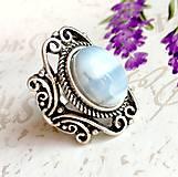 Prstene - Vintage Blue Opal Ring / Vintage prsteň s modrým opálom #1479 - 10354736_