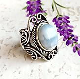 Prstene - Vintage Blue Opal Ring / Vintage prsteň s modrým opálom #1479 - 10354737_